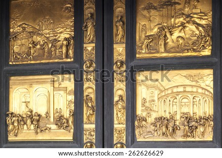 FLORENCE  ITALY - MAY 20, 2014: Detail of the Gate of Paradise - Baptistery of San Giovanni, Florence,  Italy - stock photo