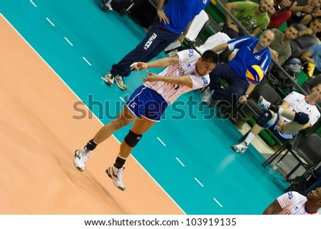 FLORENCE, ITALY - MAY 19: French player Samuel Tuia during a World League match between Italy and France at Mandela Forum, Florence, Italy on May 19 2012