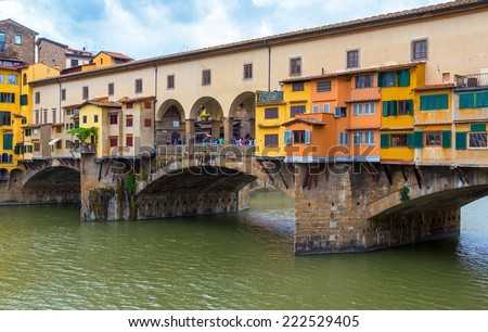 FLORENCE, ITALY - MAY 11, 2014: Ponte Vecchio over Arno river. - stock photo