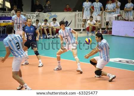 FLORENCE, ITALY - OCTOBER, 06: FIVB Men's Volleyball World Championship, Argentina vs Russia at Nelson Mandela Forum on Oct 06 2010, Florence, Italy