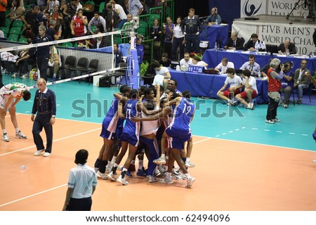 FLORENCE, ITALY - OCTOBER 06: FIVB Men's Volleyball World Championship, Bulgaria vs Cuba at Nelson Mandela Forum on Oct 06 2010, Florence, Italy