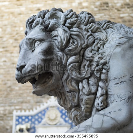 FLORENCE, ITALY - OCTOBER 30, 2015: The Medici lion statue displayed at the Loggia dei Lanzi in Florence