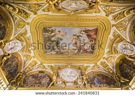 FLORENCE, ITALY - SEPTEMBER 2, 2014: Fresco paiting in Palatina Gallery, Palazzo Pitti (Pitti Palace), a Renaissance palace. - stock photo