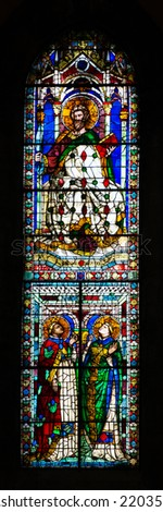 FLORENCE, ITALY - SEPTEMBER 15, 2014: Stained glass inside of the Basilica di Santa Maria del Fiore (Basilica of Saint Mary of the Flower), Florence, Italy - stock photo