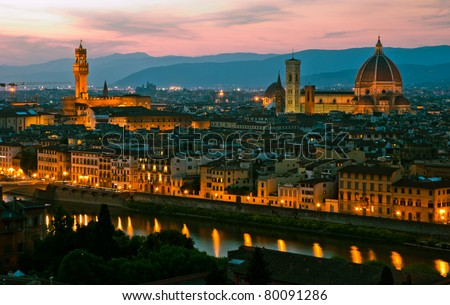Florence, Italy - skyline with Duomo, Palazzo vecchio and Arno river - stock photo