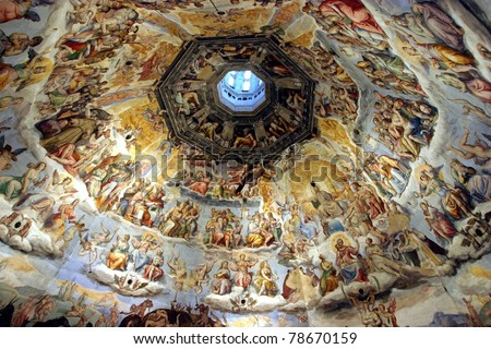 Florence, Italy, the wonderful masterpiece of The Judgment Day, inside the Dome - stock photo