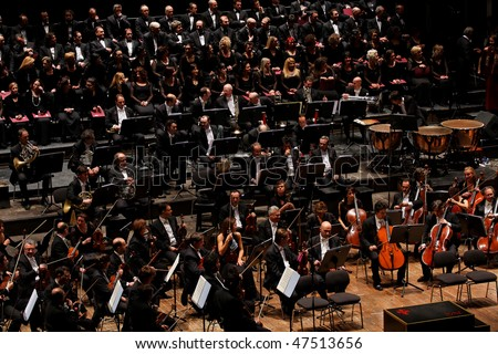 FLORENCE - JANUARY 16: The Maggio Musicale Fiorentino Orchestra January 16, 2010 in Florence, Italy - stock photo
