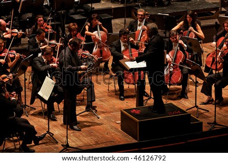 FLORENCE - JANUARY 16: Zubin Mehta conducting Maggio Musicale Fiorentino Orchestra January 16, 2010 in Florence, Italy