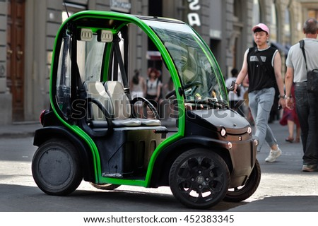 Florence - JULY 2: The first electric car to rent in Florence historical center in  July 02, 2016 in Florence, Italy - stock photo