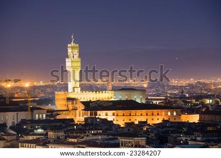 Florence, Night view of Palazzo Vecchio, piazza della Signoria. from Piazzale Michelangelo. - stock photo