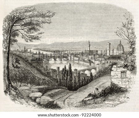 Florence old view from San Miniato, Italy. Created by Brugnot, published on Magasin Pittoresque, Paris, 1845 - stock photo