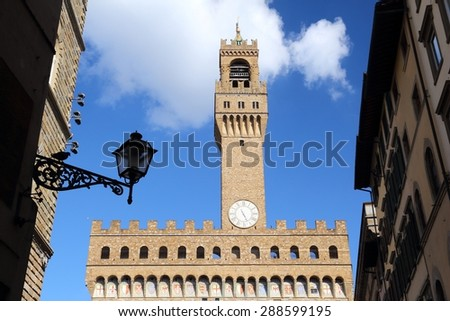 Florence - Palazzo Vecchio. Old town romanesque architecture in Tuscany, Italy. - stock photo