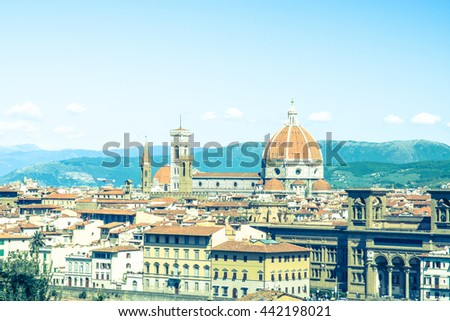 Florence Panorama: Santa Maria del Fiore - Florence, Italy. color filter - stock photo