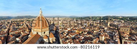 Florence panorama with Basilica di Santa Maria del Fiore cathedral, as seen from the top of Giotto's Campanile - stock photo