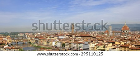 Florence panorama with Ponte Vecchio, river Arno, Palazzo Vecchio and the Duomo cathedral - stock photo