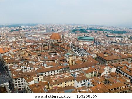 Florence panoramic view and The Basilica di San Lorenzo in the distance from The Campanile. Florence, Italy