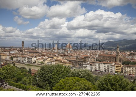 Florence, panoramic view eith old town, Tuscany, Italy, Europe - stock photo