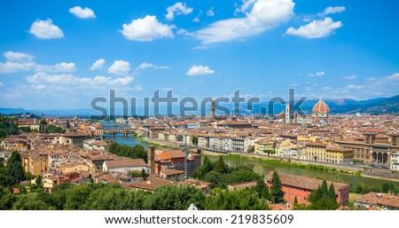 Florence panoramic view with Cathedral Santa Maria del Fiore, Pallazo Vecchio and Ponte Vecchio, Italy - stock photo