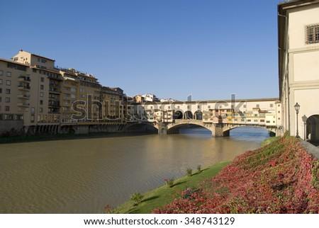 Florence. Ponte Vecchio and River Arno - stock photo