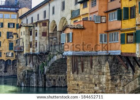 Florence Ponte Vecchio bridge view cityscape - stock photo