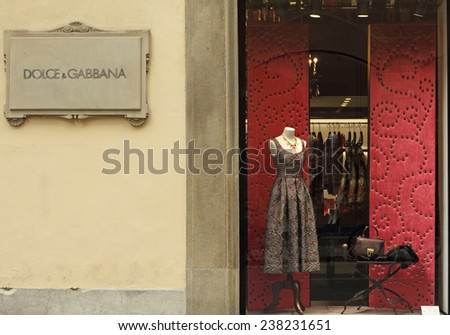FLORENCE - SEP. 3 : Dolce & Gabbana boutique in Florence on Tornabuoni street on September, 3, 2014.Dolce & Gabbana - italian luxury fashion house which costumes wearing Victoria Beckham, Madonna.  - stock photo