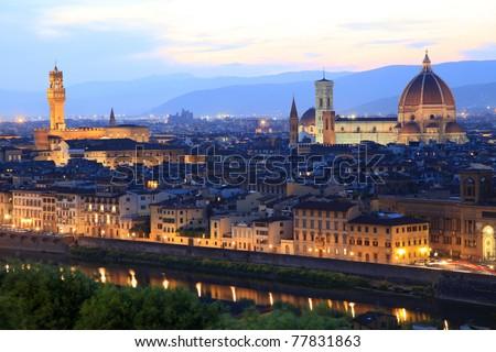 Florence skyline at night, Italy - stock photo