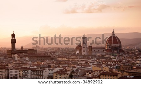 Florence skyline at sunset, Italy. Campanile di San Marco. Palazzo Nuovo.