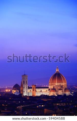 Florence skyline at twilight, Italy - stock photo