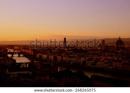 Florence skyline from piazzale Michelangelo at sunset - stock photo