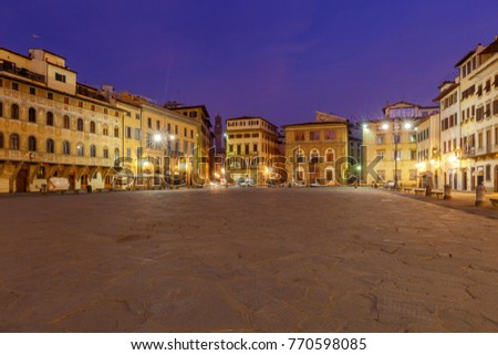 Florence. Square of the Holy Cross at night.