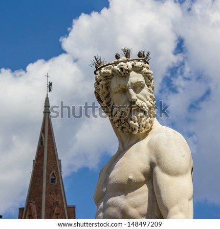 Florence, statue of Neptune - stock photo