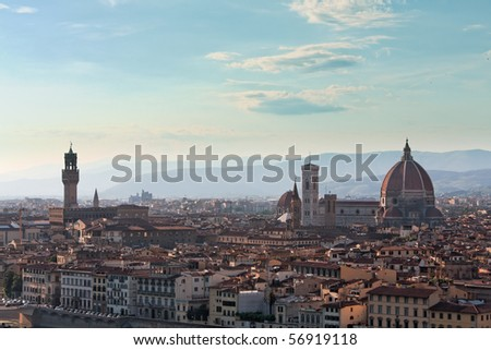 Florence View, Dome and Palazzo vecchio,  as seen from Piazzale Michelangelo during a summer afternoon - stock photo