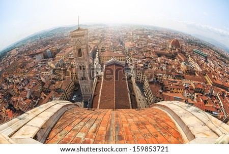 Florence view from the top of the Duomo - stock photo