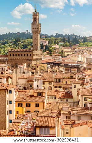 Florence view from the top of the Duomo with Palazzo Vecchio (The Old Palace) (Tuscany, Italy) - stock photo