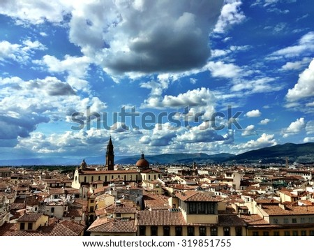 Florence view in Italy with cloudy sky