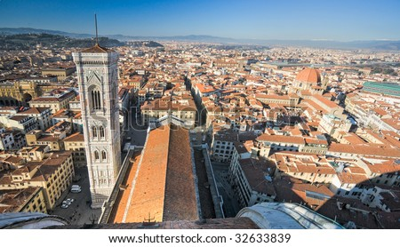 Florence, view of Duomo and Giotto's bell tower, and Santa croce, Tuscany, Italy. - stock photo