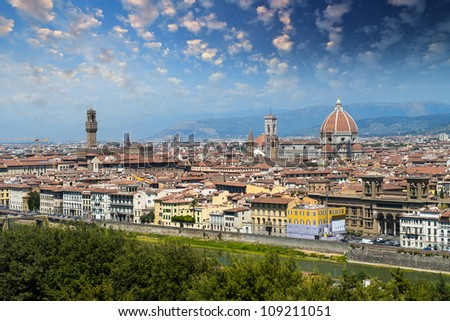Florence, view of Duomo, Giotto's bell tower and Palazzo vecchio from Piazzale Michelangelo - Italy - stock photo