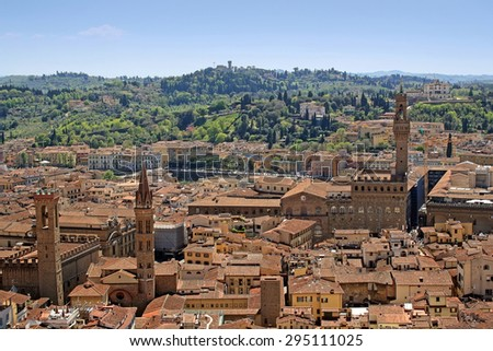 Florence view with Palazzo Vecchio - stock photo