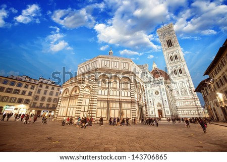Florence. Wonderful sky colors in Piazza del Duomo - Firenze. - stock photo