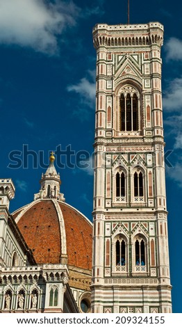 Florence, Wonderful sky colors in Piazza del Duomo - Firenze - stock photo