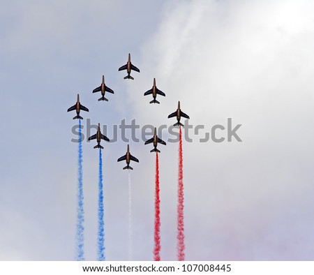 FLORENNES - JUNE 23:Patrouille de France participates in the Florennes airshow 2012 Event june 23, 2012 in Florennes, Belgium.