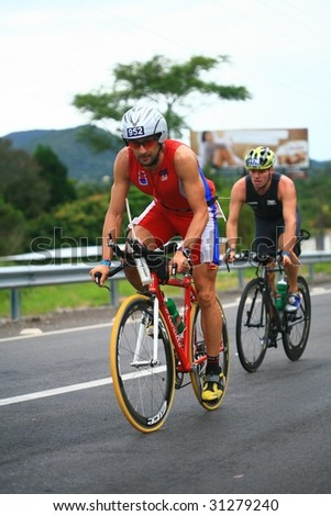 FLORIANOPOLIS - SANTA CATARINA, BRAZIL, MAY 31: An unidentified competitor races in the Ironman triathlon competition held in Florianopolis - Santa Catarina - Brazil, on May 31, 2009
