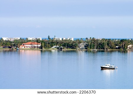 Florida barrier island scenic shoreline with Atlantic in far background - stock photo