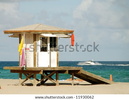 Florida beach scenery with lifeguard tower and ocean - stock photo