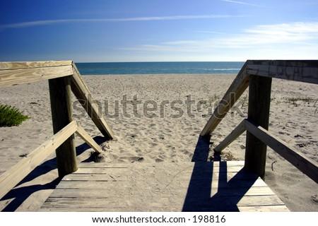 Florida Beach Series: wooden walkway to the beach - stock photo