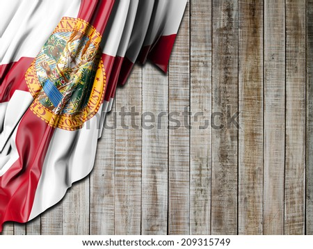 Florida Flag with vertical wood