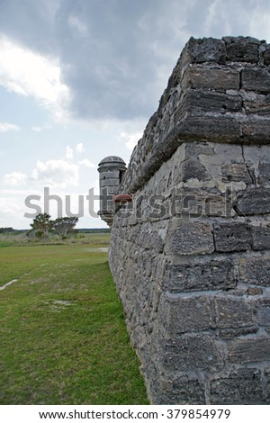 Florida fort at river south of St Augustine, Florida                      - stock photo