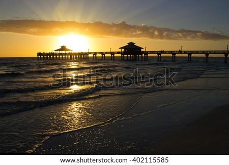 Florida, Fort Myers Beach, sunset - stock photo