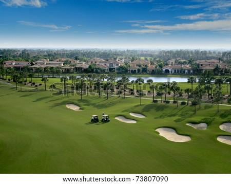 Florida Golf Course Flyover - stock photo