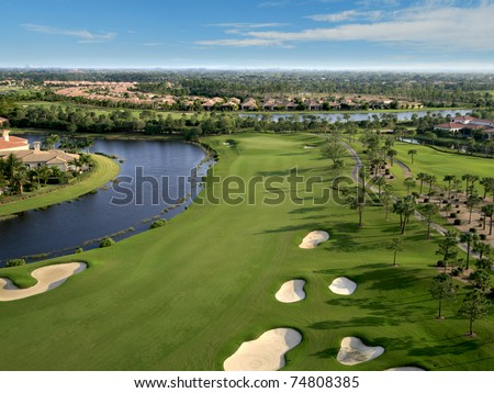 Florida Golf Course Flyover - stock photo